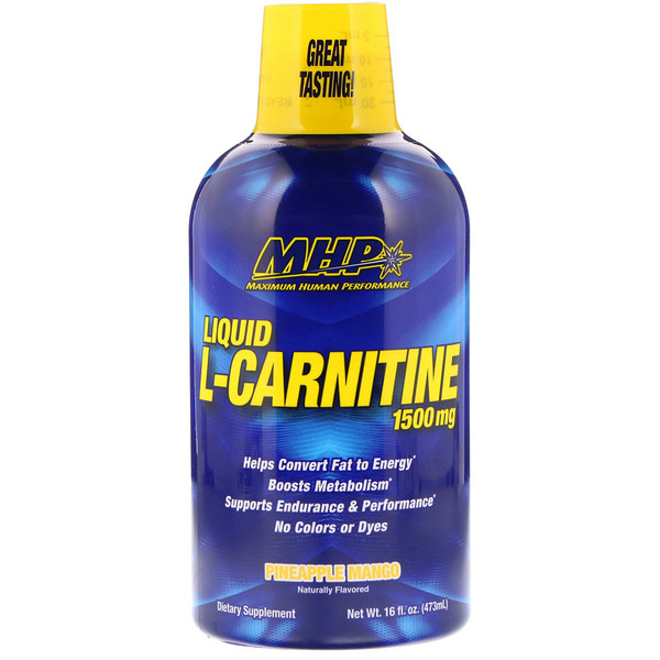 MHP, Liquid L-Carnitine, 1500 mg, Pineapple Mango, 16 fl oz (473 ml)