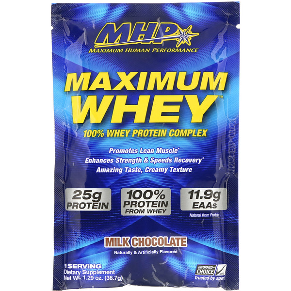 Maximum Whey, Milk Chocolate, 1.29 oz (36.7 g)