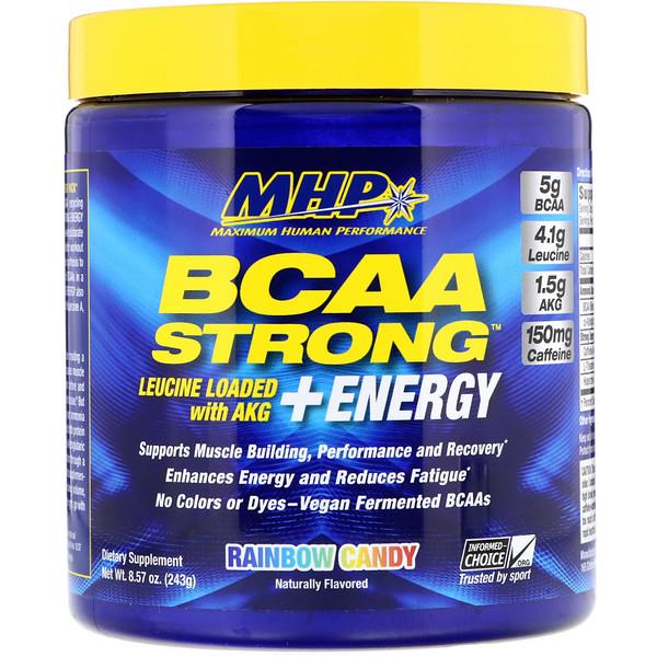 BCAA Strong + Energy, Rainbow Candy, 8.57 oz (243 g)