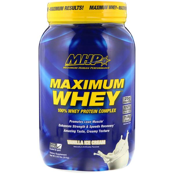 MHP, Maximum Whey، آيس كريم الفانيليا، 2.02 رطل (915 غرام) (Discontinued Item)