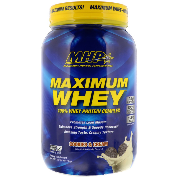 MHP, マキシマム ホエイ、クッキー&クリーム、2.02 lbs (917.5 g) (Discontinued Item)