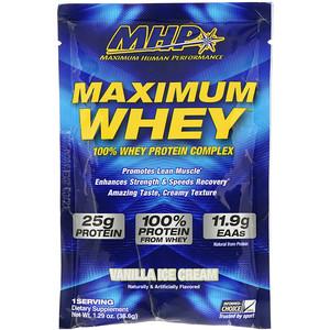 Максимум Хьюман Перворманс ЛЛС, Maximum Whey, Vanilla Ice Cream, 1.29 oz (36.6 g) отзывы