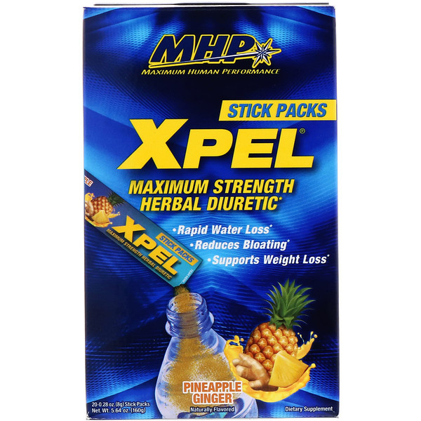 MHP, XPEL, Maximum Strength Herbal Diuretic, Pineapple Ginger, 20 Packs, 0.28 oz (8 g) (Discontinued Item)