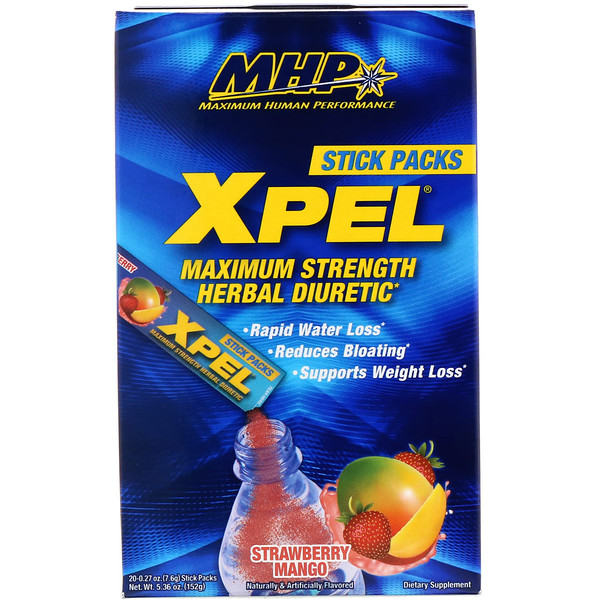 MHP, XPEL, Maximum Strength Herbal Diuretic, Strawberry Mango, 20 Packs, 0.27 oz (7.6 g) Each (Discontinued Item)