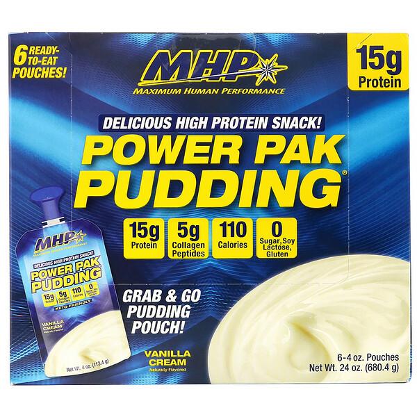 MHP, Power Pak Pudding, Vanilla Cream, 6 Pouches, 4 oz (113.4 g) Each (Discontinued Item)