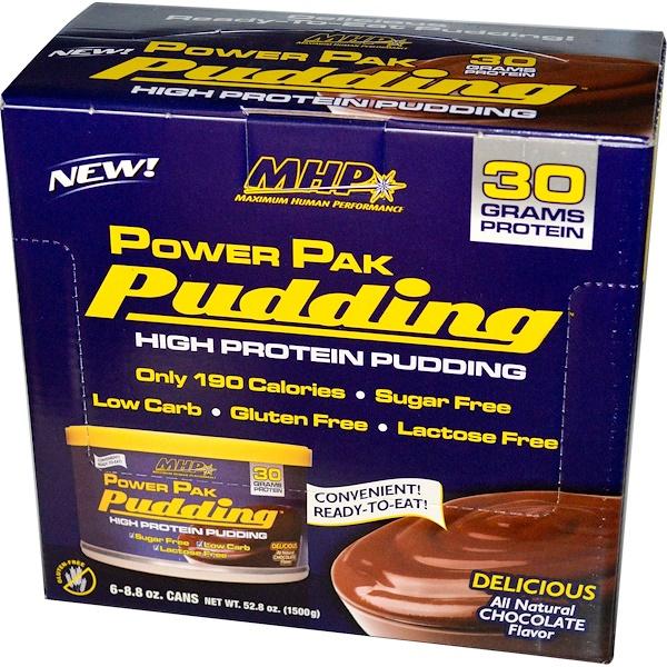 Maximum Human Performance, LLC, Power Pak 布丁,巧克力口味,6罐,每罐8、8盎司(250克)