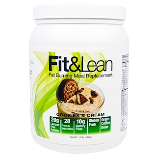 Maximum Human Performance, LLC, Fit & Lean, Fat Burning Meal Replacement, Cookies & Cream, 1.0 lb (450 g)