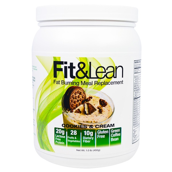MHP, Fit & Lean, Fat Burning Meal Replacement, Cookies & Cream, 1.0 lb (450 g) (Discontinued Item)