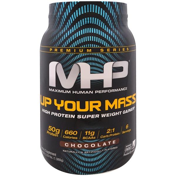 Maximum Human Performance, LLC, Up Your Mass,高蛋白超級增重粉,巧克力味,2、35 磅(1068 克)