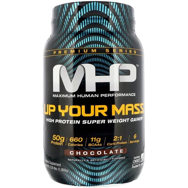 Maximum Human Performance, LLC, Up Your Mass، مشروب الوزن الفائق عالي البروتين، شوكولا، 2.35 رطل (1،068 غ)