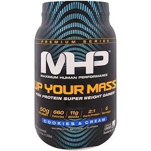 Максимум Хьюман Перворманс ЛЛС, Up Your Mass, High Protein Super Weight Gainer, Cookies & Cream, 2.33 lbs (1,056 g) отзывы
