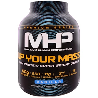 Maximum Human Performance, LLC, Up Your Mass, High Protein Weight Gainer, Vanilla, 4.66 lbs (2,112 g)