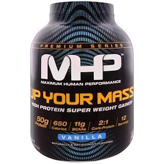 Maximum Human Performance, LLC, Incremente su Masa, producto rico en proteínas para ganar peso, vainilla, 4.66 lb (2,112 g)