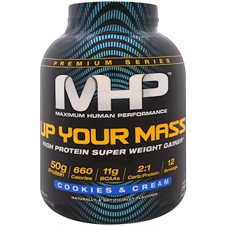 Maximum Human Performance, LLC, Up Your Mass, High Protein Super Weight Gainer, Cookies & Cream, 4.66 lbs (2,112 g)