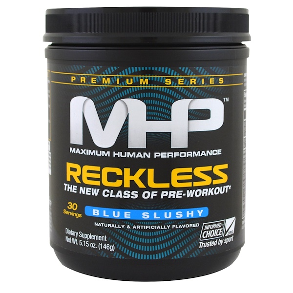 MHP, Premium Series, Reckless Pre-Workout, Blue Slushy, 5.15 oz (146 g) (Discontinued Item)