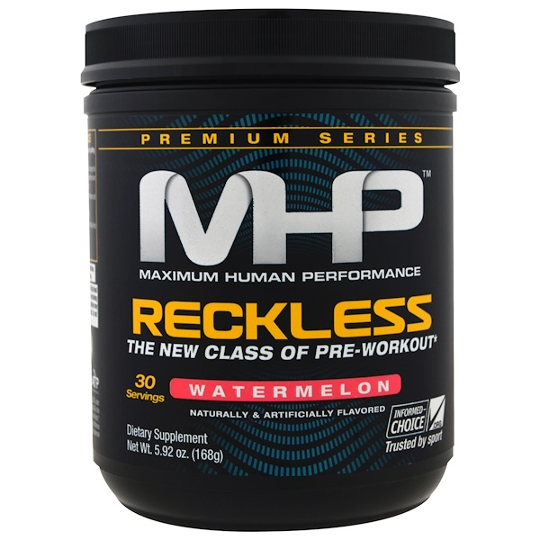 MHP, Reckless Pre-Workout, Watermelon, 5.92 oz (168 g) (Discontinued Item)