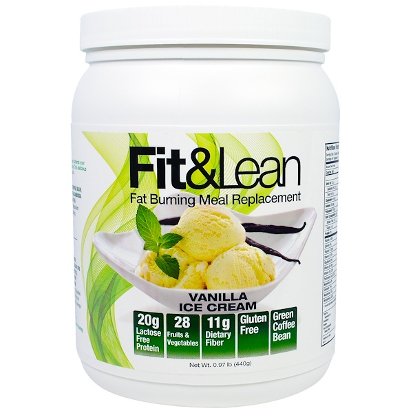 MHP, Fit & Lean, Fat Burning Meal Replacement, Vanilla Ice Cream, 0.97 lb (440 g) (Discontinued Item)