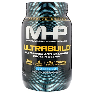 Maximum Human Performance, LLC, UltraBuild, Multi-Phase Anti-Catabolic Protein Blend, Vanilla, 1.75 lb (792 g)
