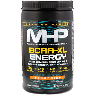 Maximum Human Performance, LLC, 優質系列,BCAA-XL能量,橘子味,10.6盎司(300克)