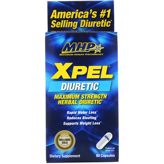 Maximum Human Performance, LLC, Xpel, Maximum Strength Herbal Diuretic, 80 Capsules