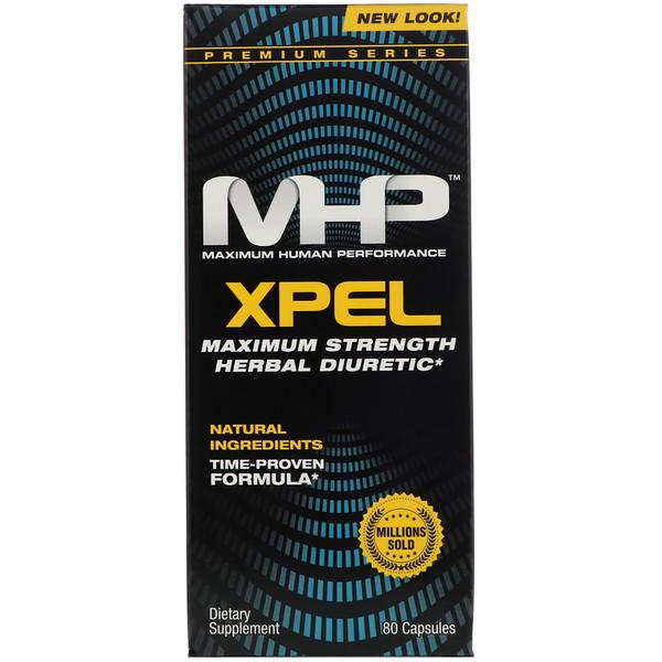 Maximum Human Performance, LLC, Xpel, Maximum Strength Herbal Diuretic, 80 Capsules
