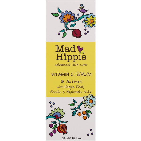 Mad Hippie Skin Care Products, Suero de Vitamina C, 8 ingredientes activos, 1,02 Fl oz (30 ml)