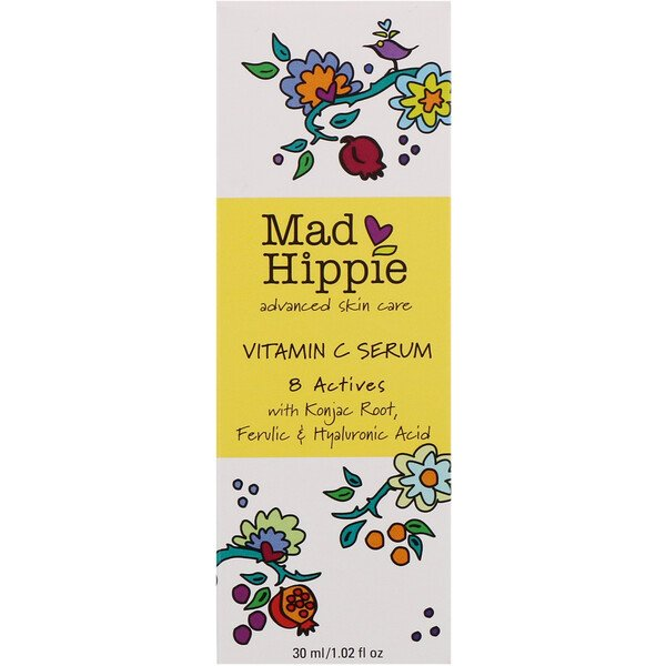 Mad Hippie Skin Care Products, 비타민 C 세럼, 8가지 액티브, 1.02 fl oz (30 ml)