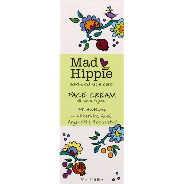 Mad Hippie Skin Care Products, Face Cream, 15 Actives, 1.0 fl oz (30 ml)