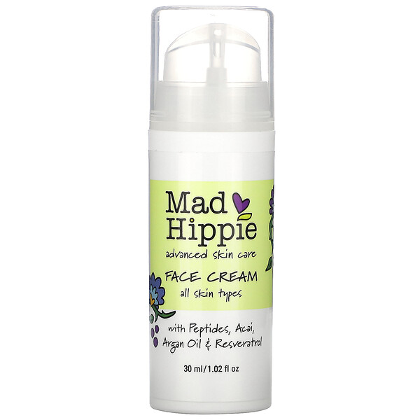 Mad Hippie Skin Care Products, Crema para el rostro, 15 ingredientes activos, 1.0 fl oz (30 ml)