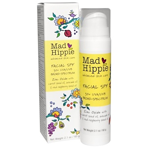 Mad Hippie Skin Care Products, Солнцезащитный крем для лица, широкий спектр 30+ УФ-A/B, 2,1 унции (60 г)