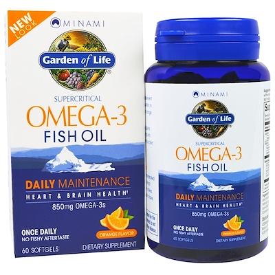 Купить Сверхкритический рыбий жир с омега-3 кислотами, 850 мг, со вкусом апельсина, 60 мягких желатиновых капсул