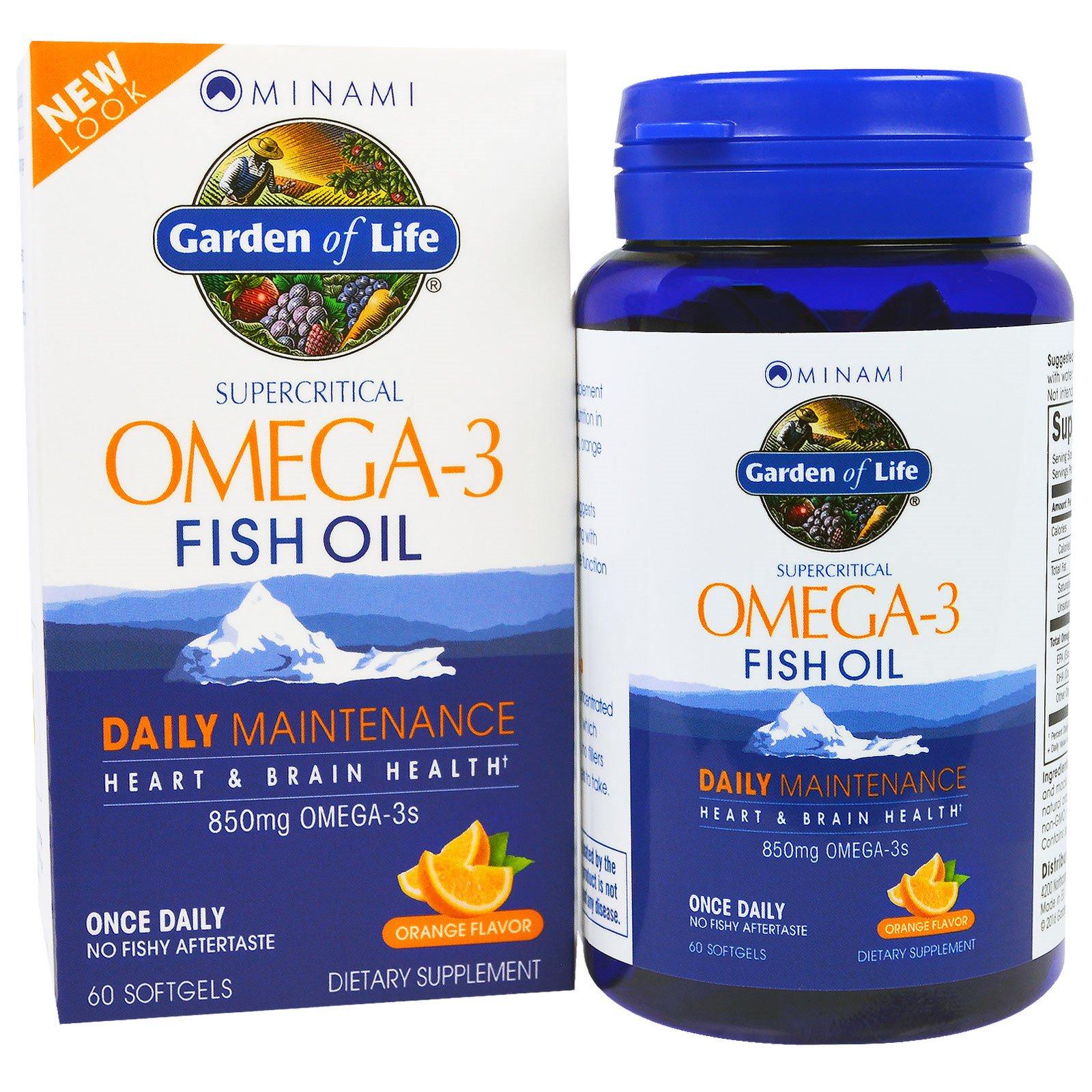 Minami Nutrition, Рыбий жир омега-3 Garden of Life, со вкусом апельсина, 60 капсул