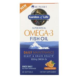 Минами нутришн, Garden of Life, Supercritical Omega-3 Fish Oil, Orange, 60 Softgels отзывы покупателей