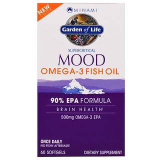 Minami Nutrition, Supercritical Mood Omega-3 Fish Oil, 500 mg, 60 Softgels