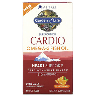 Minami Nutrition, Supercritical Cardio, Omega-3 Fish Oil, Orange Flavor, 915 mg , 60 Softgels