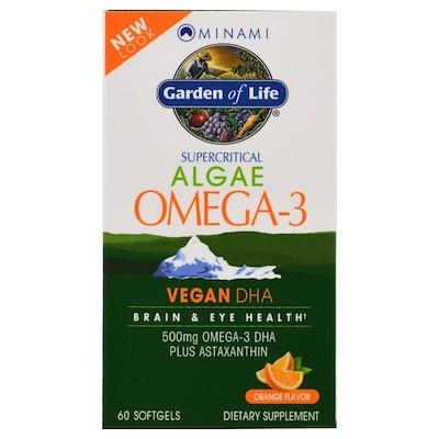 Купить VeganDHA, сверхкритическая добавка Омега-3, апельсиновый аромат, 60 мягких желатиновых капсул