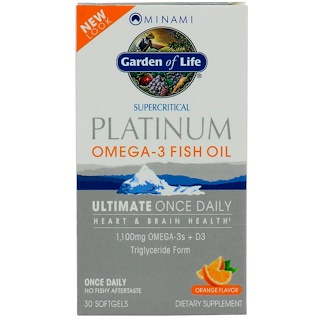 Minami Nutrition, Platinum, Omega-3 Fish Oil, Ultimate Once Daily, Orange Flavor, 30 Softgels