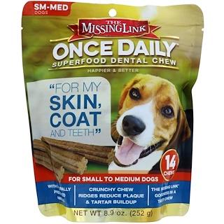 The Missing Link, Once Daily, зубные палочки из суперпродуктов, для маленьких и средних собак, 14 палочек, 252 г (8,9 унций)