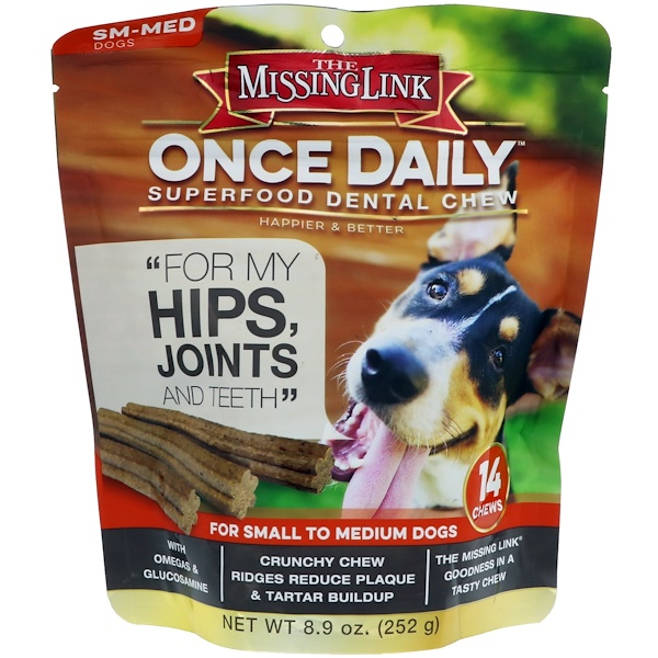 The Missing Link, Once Daily, Superfood Dental Chew, For Small To Medium Dogs, 14 Chews, 8.9 oz (252 g) (Discontinued Item)