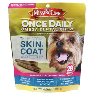 The Missing Link, Once Daily, Omega Dental Chew, For Petite To Extra Small Dogs, 28 Chews, 6.9 oz (196 g)