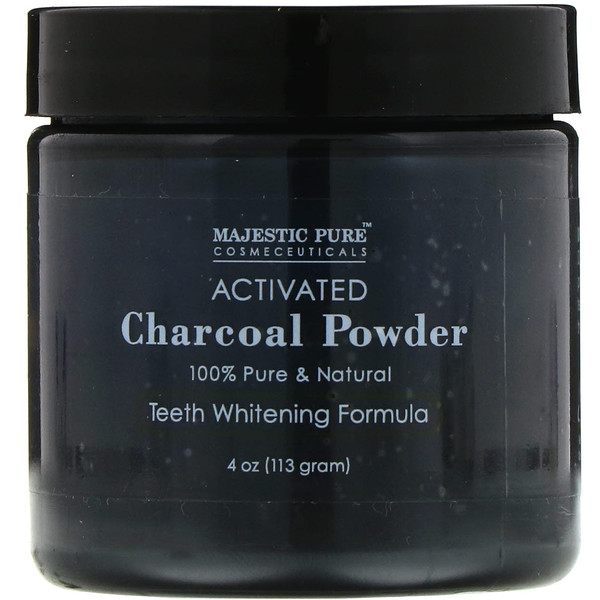 Majestic Pure, Activated Charcoal Powder, Teeth Whitening Formula, 4 oz (113 g)
