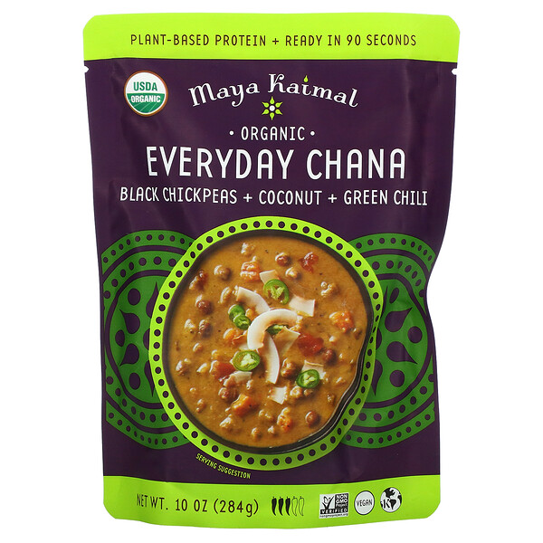 Organic Everyday Chana, Black Chickpeas + Coconut + Green Chili, 10 oz (284 g)