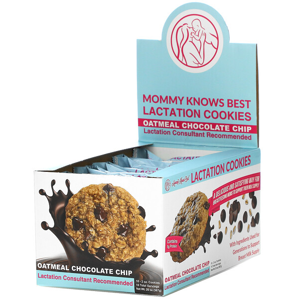 Lactation Cookies, Oatmeal Chocolate Chip, 10 Cookies, 2 oz Each