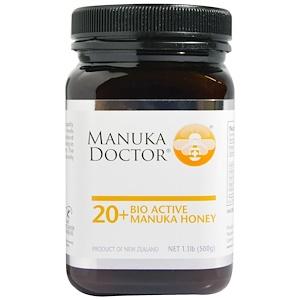 Manuka Doctor, 20+ 有機アクティブマヌカハニー、 1.1ポンド (500 g)