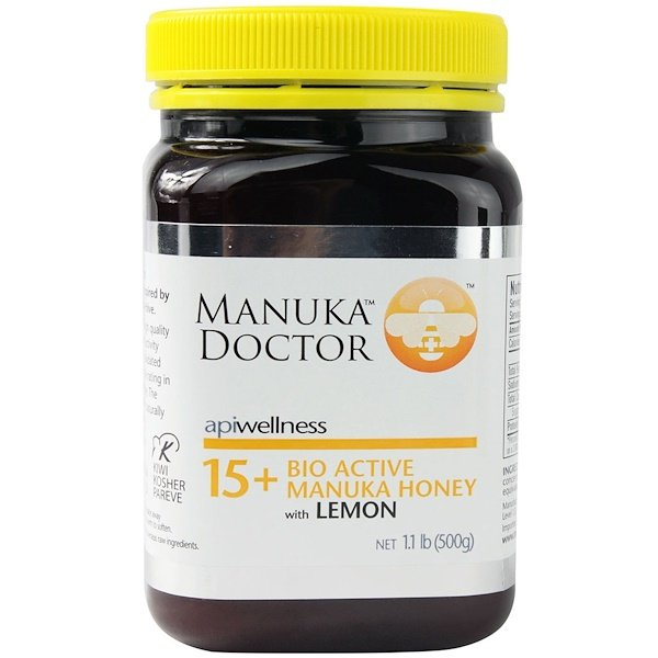 Manuka Doctor, Apiwellness, 15+ Bio Active Manuka Honey with Lemon, 1.1 lb (500 g)