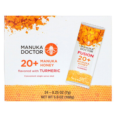 Manuka Doctor Fusion 20+ Manuka Honey, Turmeric, 24 Sachets, 0.25 oz (7 g) Each