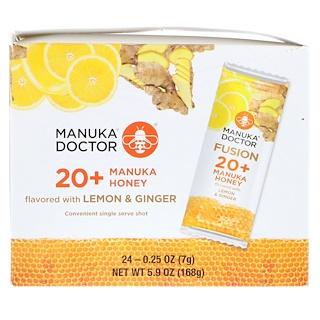 Manuka Doctor, フュージョン 20+ マヌカハニー、レモン & ジンジャーフレーバー、24袋、各0.25オンス (7 g)