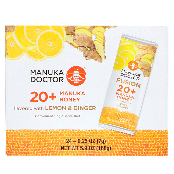 Fusion 20+ Manuka Honey, Lemon & Ginger, 24 Sachets, 0.25 oz (7 g) Each