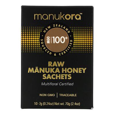 Manukora Raw Manuka Honey Sachets, 100+ MGO, 10 Sachets, 0.24 oz (7 g) Each