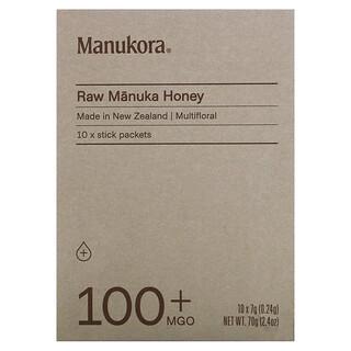 Manukora, необработанный мед манука, 100+MGO, 10пакетиков-стиков, 7г (0,24унции) каждый